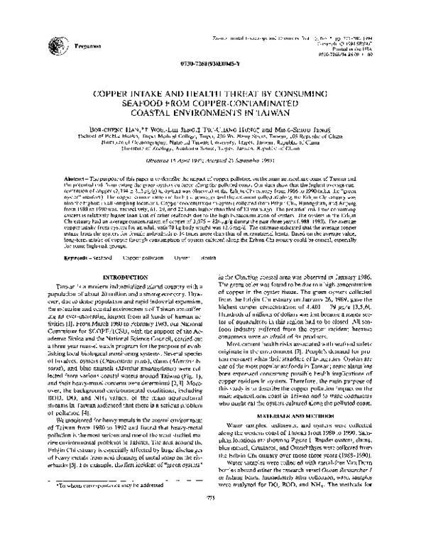 PDF) COPPER INTAKE AND HEALTH THREAT BY CONSUMING SEAFOOD
