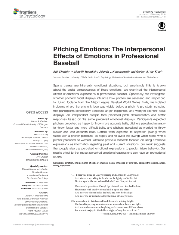 PDF) Pitching Emotions: The Interpersonal Effects of