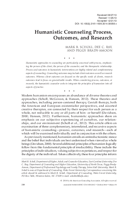 PDF) Humanistic Counseling Process, Outcomes, and Research