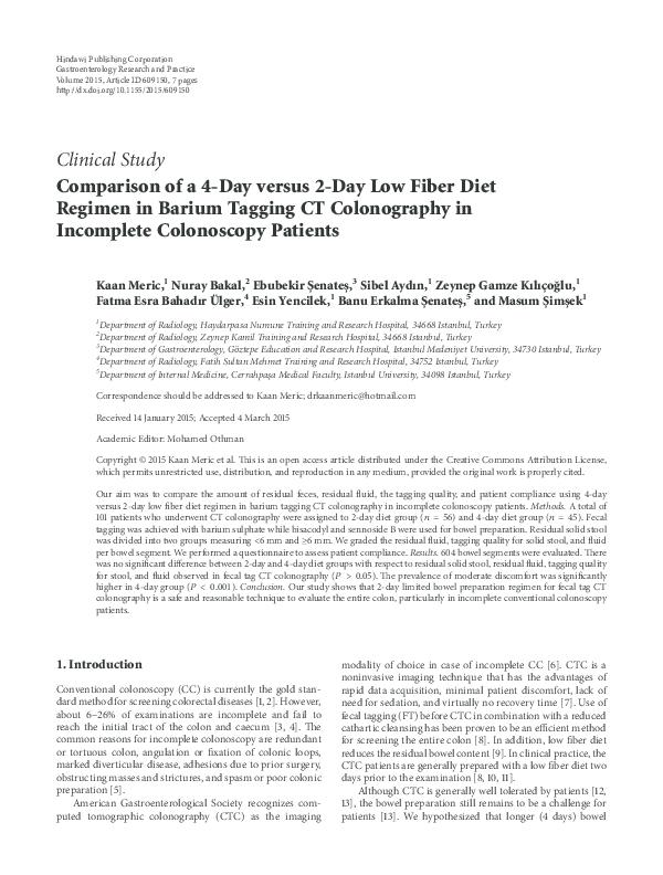 PDF) Comparison of a 4-Day versus 2-Day Low Fiber Diet