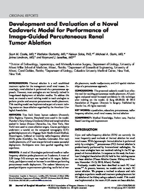 PDF) Development and Evaluation of a Novel Cadaveric Model