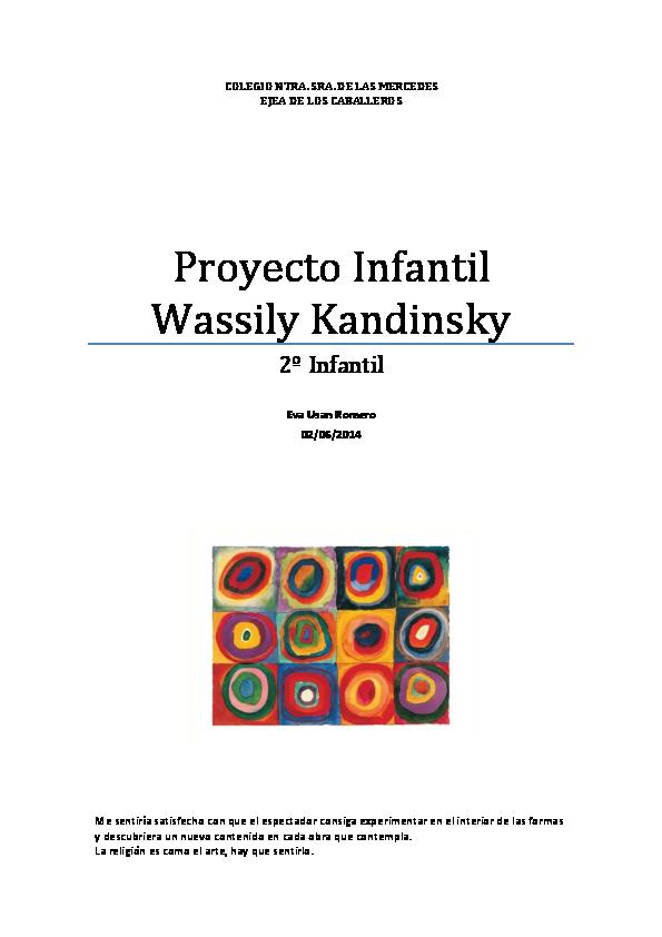 Pdf Proyecto Infantil Wassily Kandinsky 2º Infantil Eva
