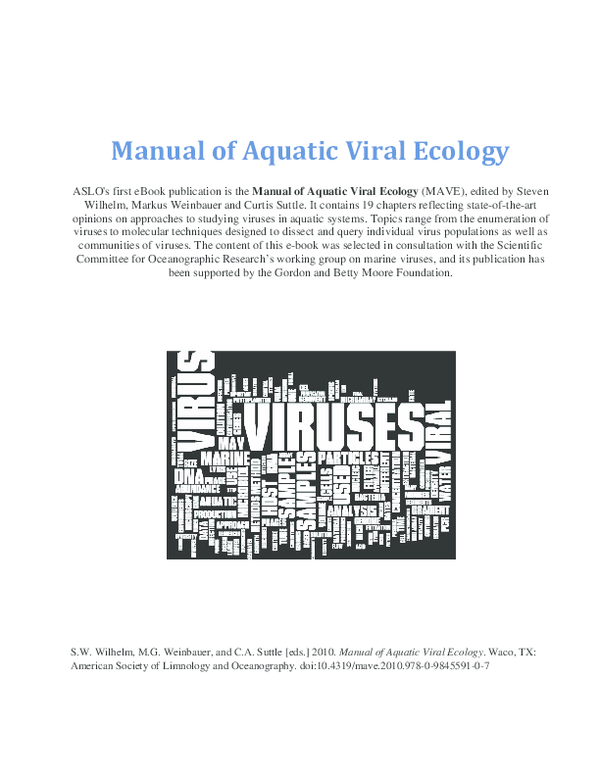 PDF) Manual of Aquatic Viral Ecology | Sanchita Jamindar and