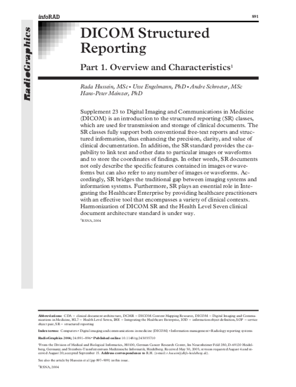 PDF) DICOM Structured Reporting | Uwe Engelmann - Academia edu