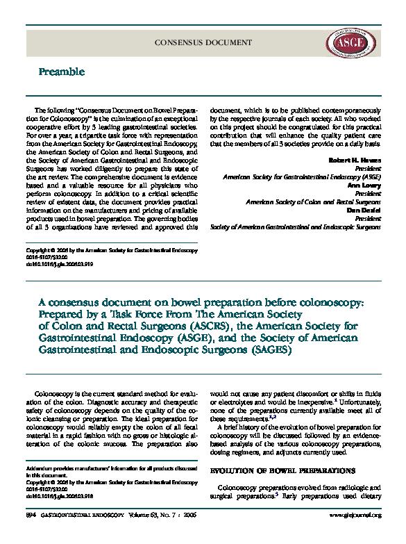 PDF) A consensus document on bowel preparation before