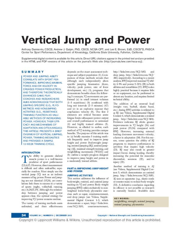 PDF) Vertical Jump and Power | Andrew Galpin and Lee E Brown