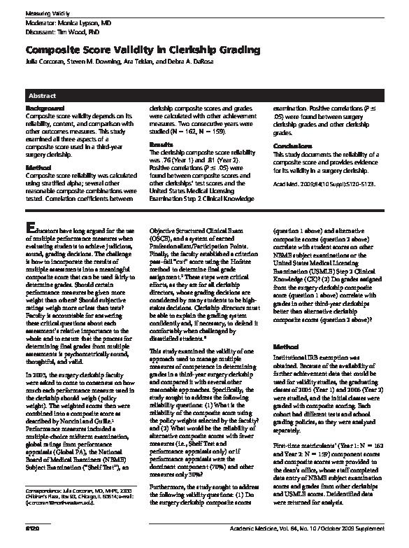 PDF) Composite Score Validity in Clerkship Grading | Ara