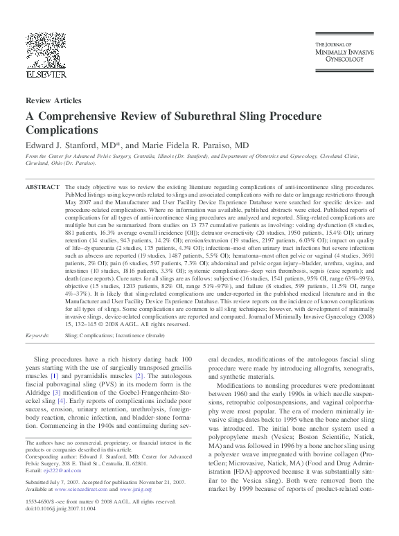 PDF) A Comprehensive Review of Suburethral Sling Procedure