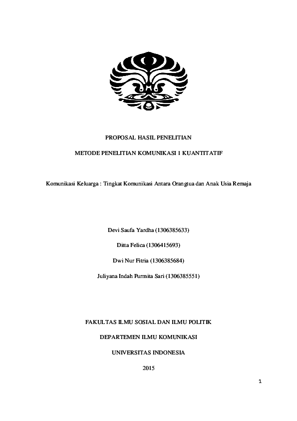 Pdf Proposal Penelitian Kuantitatif Komunikasi Keluarga Devi Saufa Yardha And Ditta Felica Academia Edu
