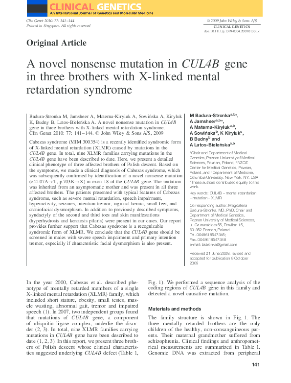PDF) A novel nonsense mutation in CUL4B gene in three