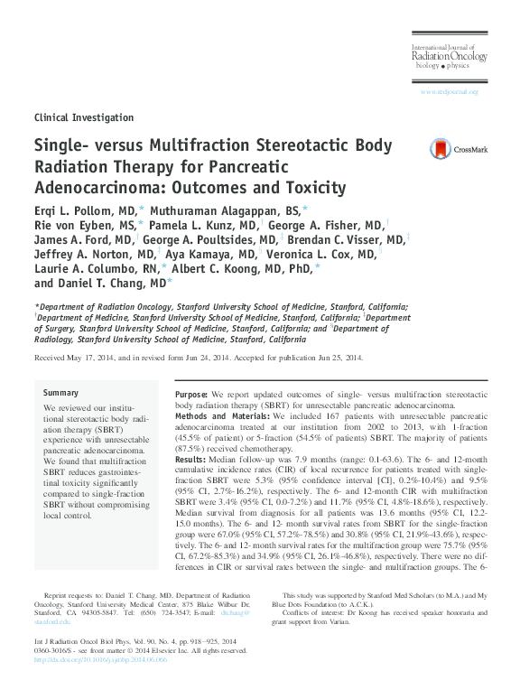 PDF) Single- versus Multifraction Stereotactic Body Radiation