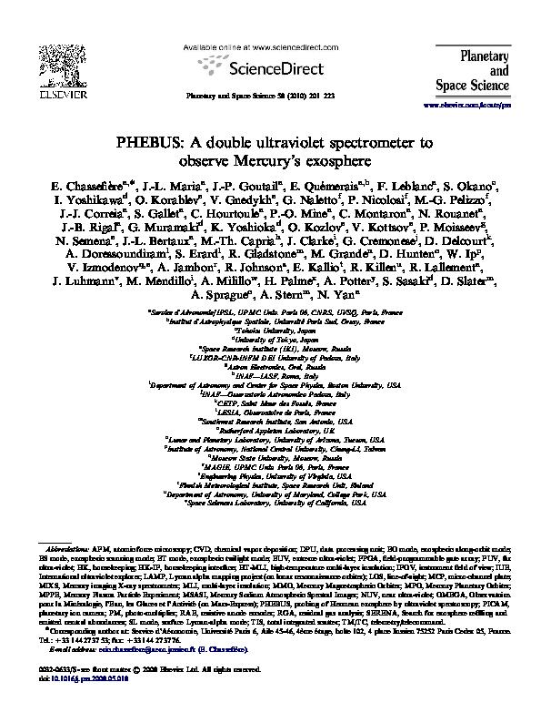 Pdf Phebus A Double Ultraviolet Spectrometer To Observe Mercury S Exosphere N Semena Academia Edu