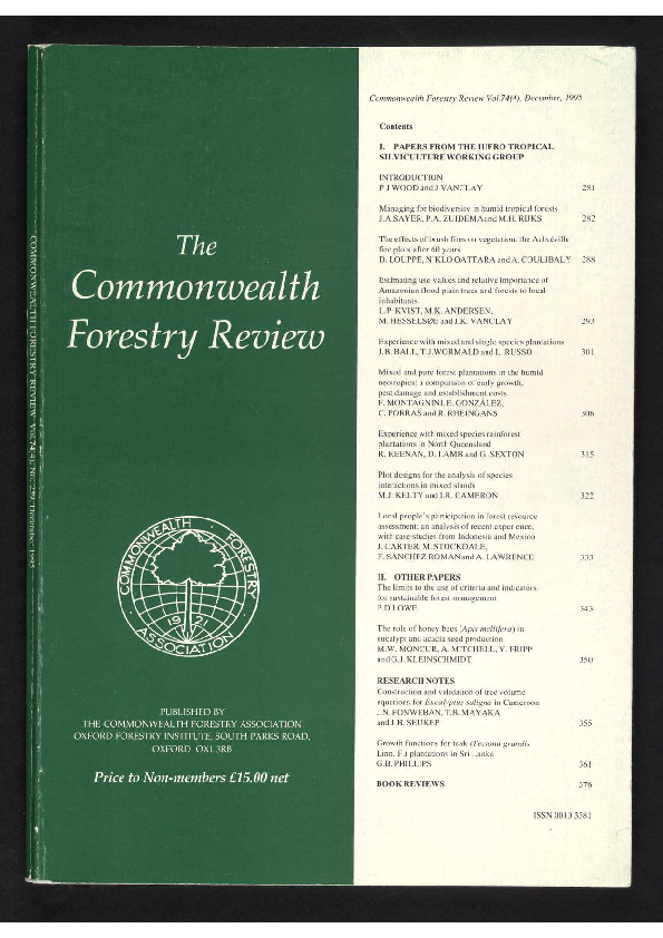 PDF) Papers from the IUFRO Tropical Silviculture Subject