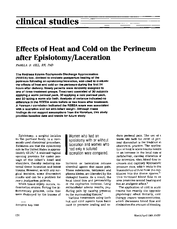 PDF) Effects of Heat and Cold on the Perineum after Episiotomy