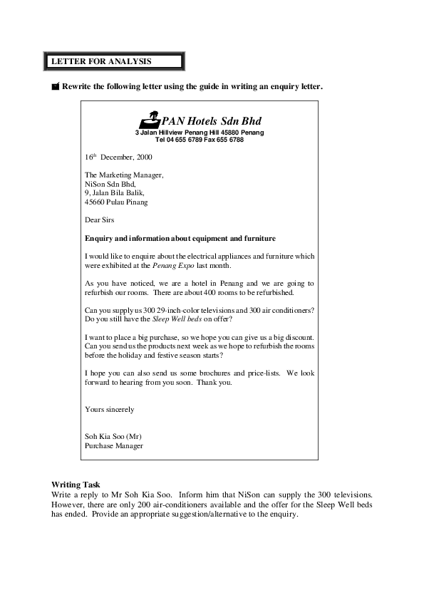 PDF) LETTER FOR ANALYSIS  Rewrite the following letter