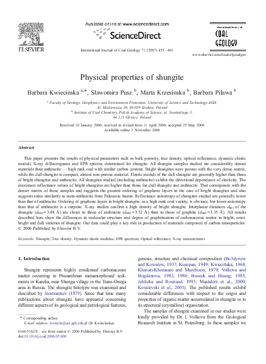 PDF) Physical properties of shungite | S  Pusz - Academia edu