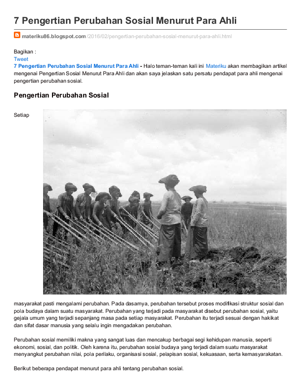 (PDF) Pengertian Perubahan Sosial menurut para ahli ...