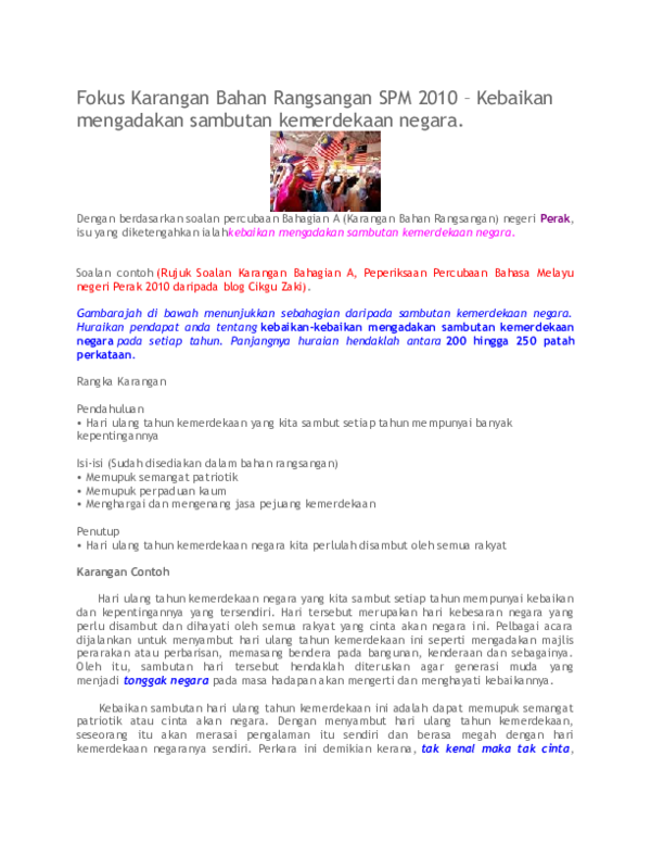 Doc Fokus Karangan Bahan Rangsangan Spm 2010 Kebaikan Mengadakan Sambutan Kemerdekaan Negara Zinon Abidin Academia Edu