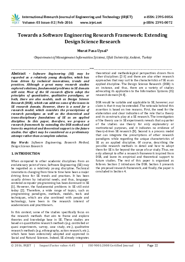 Pdf Towards A Software Engineering Research Framework Extending Design Science Research Murat Pasa Uysal Academia Edu