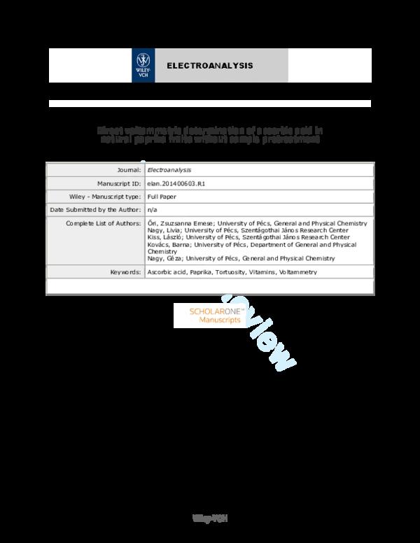 PDF) Direct Voltammetric Determination of Ascorbic Acid in Natural