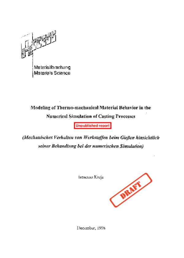 PDF) Modeling of Thermo-mechanical Material Behavior in the