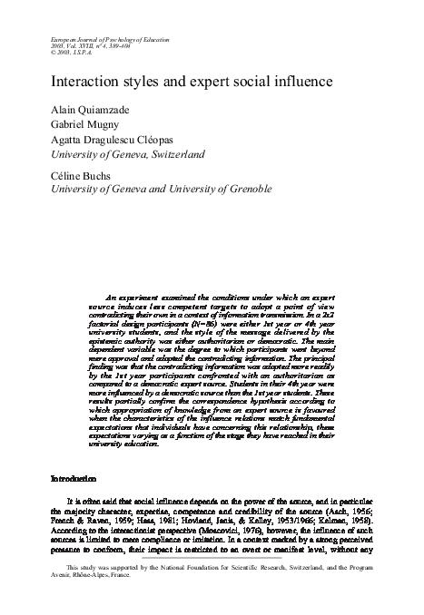 PDF) Interaction styles and expert social influence | Gabriel Mugny