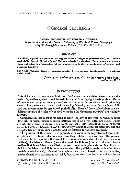 PDF) Calendrical calculations | Edward Reingold - Academia edu