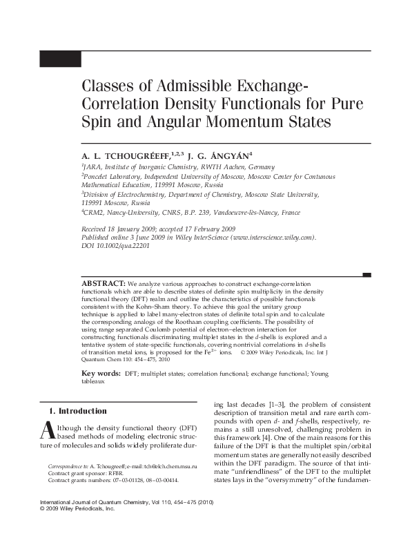 PDF) Classes of admissible exchange-correlation density functionals for  pure spin and angular momentum states | J. Ángyán - Academia.edu