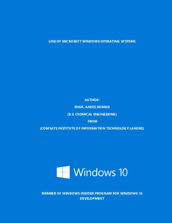 PDF) LINE OF MICROSOFT WINDOWS OPERATING SYSTEMS | Engr  Anees Ahmad