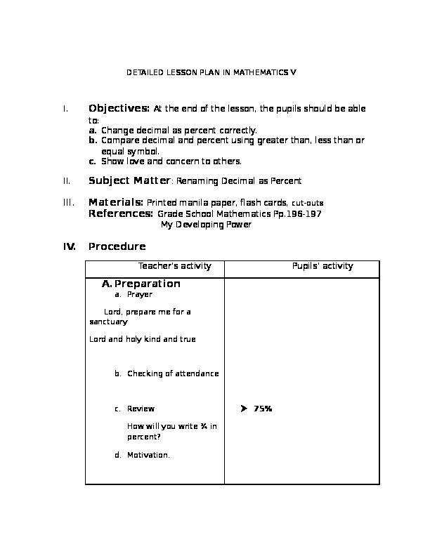 DOC) DETAILED LESSON PLAN IN MATHEMATICS V | Jackson Guinsiman