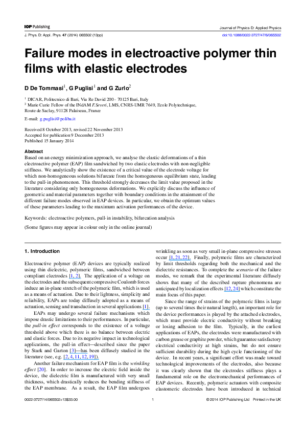 PDF) Failure modes in electroactive polymer thin films with