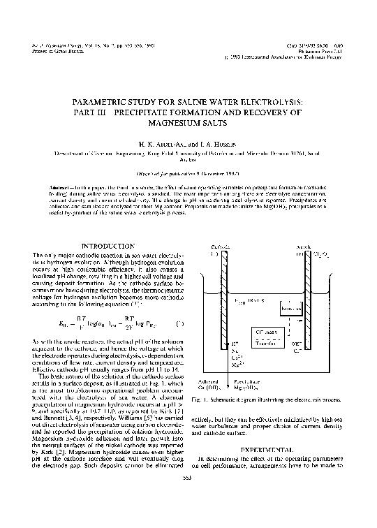 PDF) Parametric study for saline water electrolysis: Part I