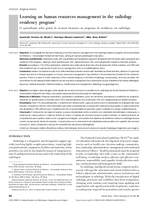 PDF) Learning on human resources management in the radiology