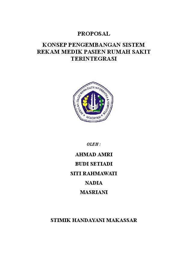 Doc Proposal Konsep Pengembangan Sistem Rekam Medik Pasien Rumah Sakit Terintegrasi Rahmawati Rahmawati Academia Edu