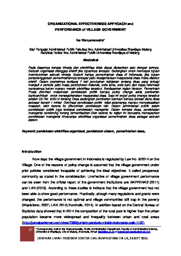 Pdf Organizational Effectiveness Approach And Performance Of Village Government Ike Wanusmawatie Academia Edu