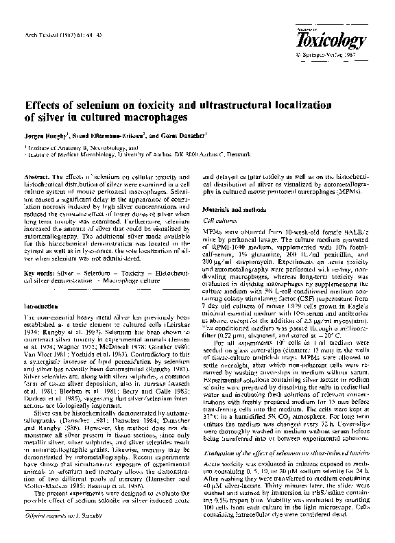 PDF) Effects of selenium on toxicity and ultrastructural