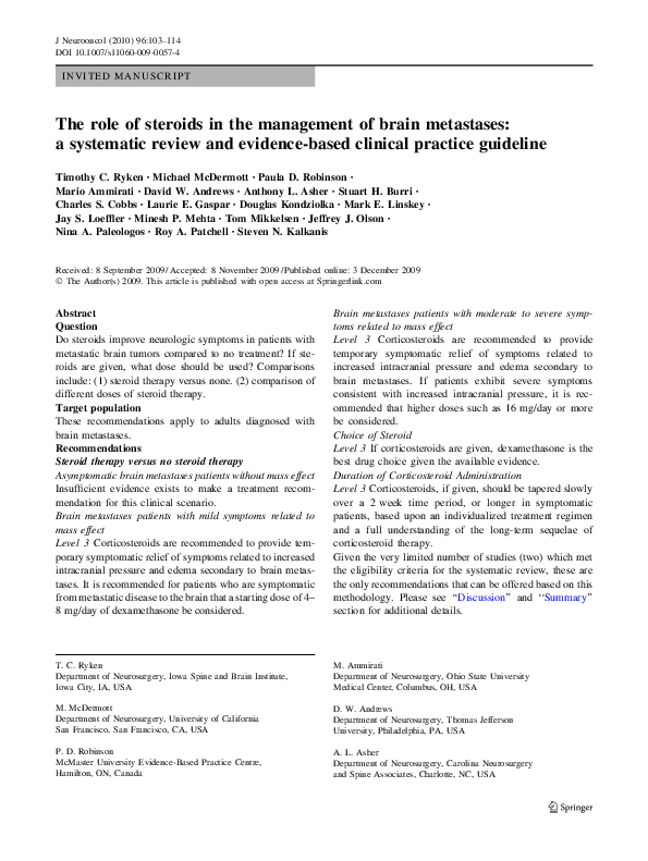 PDF) The role of steroids in the management of brain
