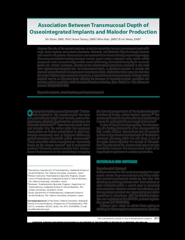 PDF) Association between transmucosal depth of