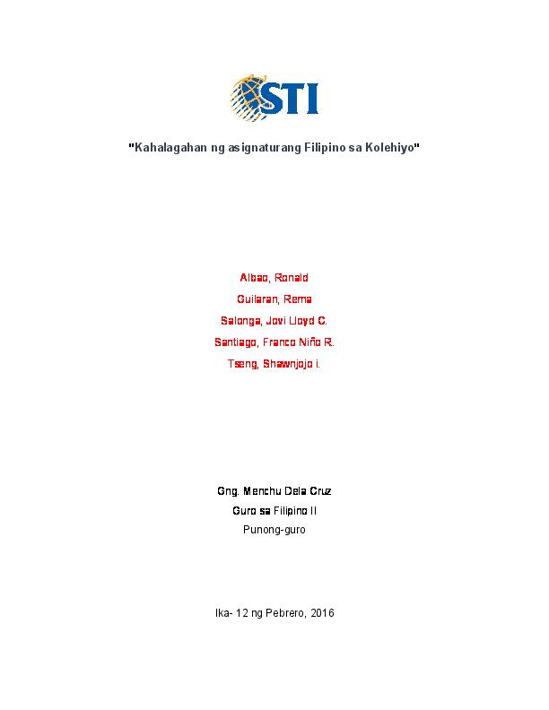 thesis tungkol sa asignaturang filipino sa kolehiyo