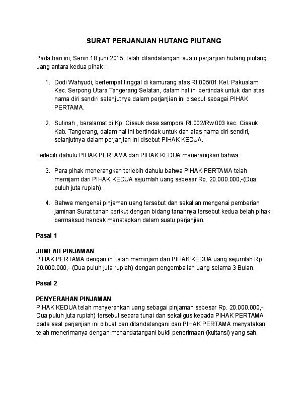 Doc Surat Perjanjian Hutang Piutang Rahmat Hidayatullah