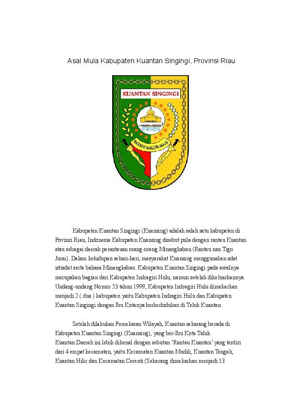 Doc Asal Mula Kabupaten Kuantan Singingi Harpian Civil Academia Edu