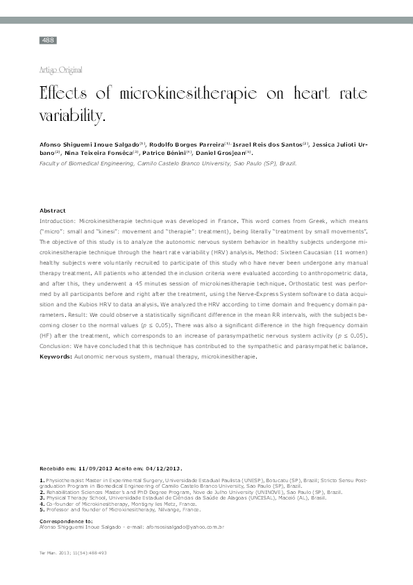 PDF) Effects of microkinesitherapie on heart rate