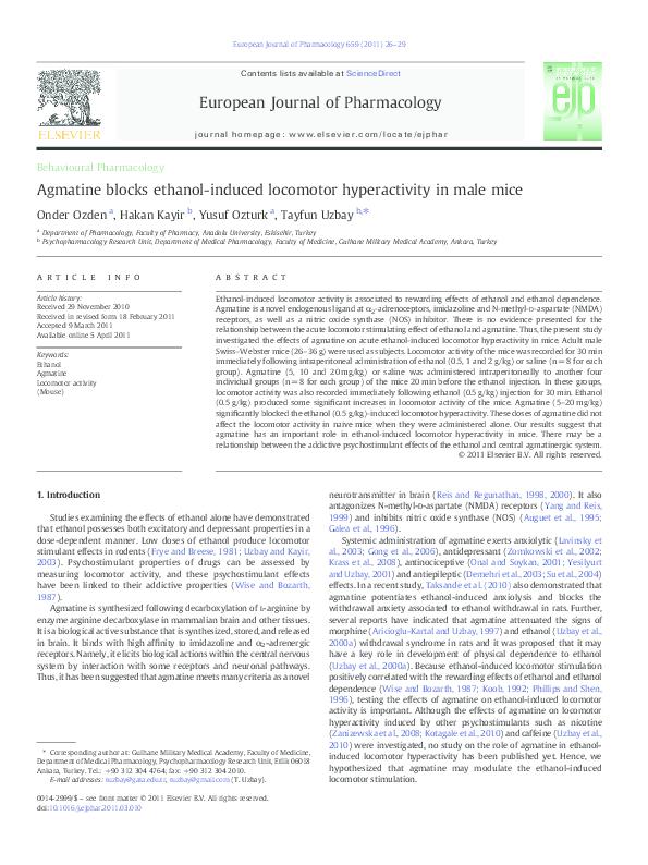PDF) Agmatine blocks ethanol-induced locomotor hyperactivity
