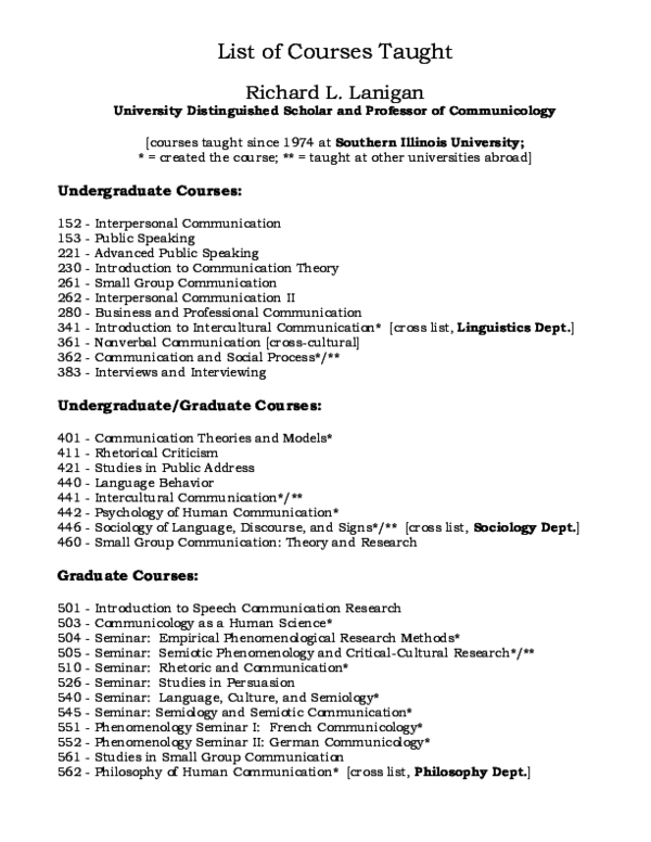 PDF) LIST OF COURSES TAUGHT: Richard L  Lanigan | Richard L