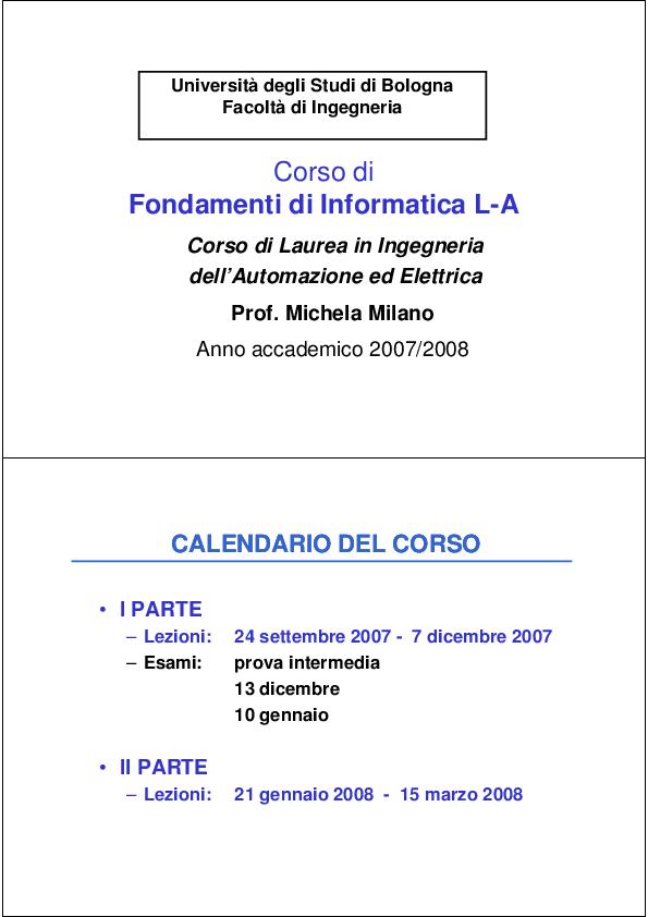 Calendario Settembre 2007.Pdf Corso Di Fondamenti Di Informatica La Universita Degli