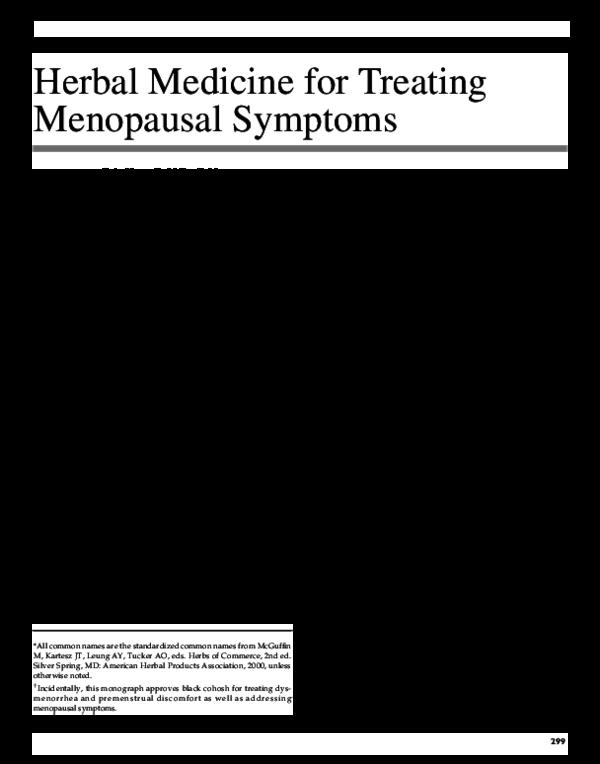 PDF) Herbal Medicine for Treating Menopausal Symptoms | Eric Yarnell