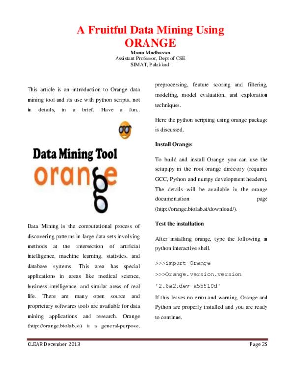 PDF) A Fruitful Data Mining Using Orange | Manu Madhavan