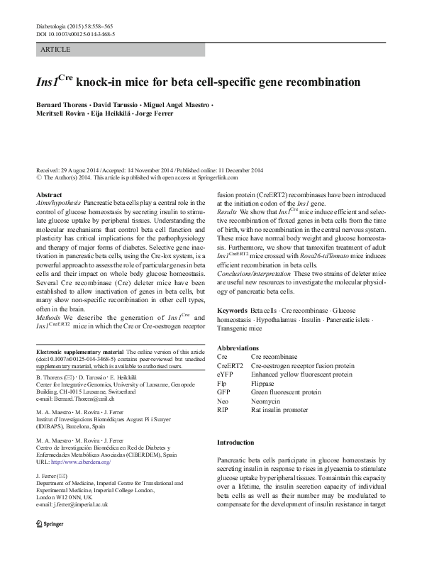 PDF) Ins1 Cre knock-in mice for beta cell-specific gene