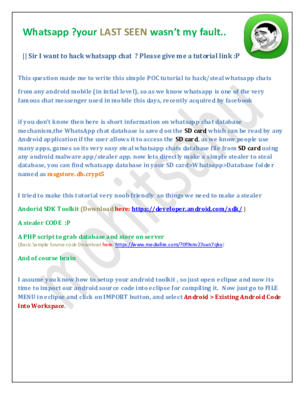 PDF) Whatsapp DataBase Decryption on Crypt 5,6 | Mohit Sahu