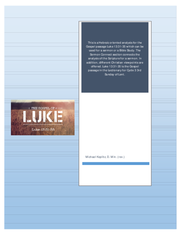 PDF) Hebraic Analysis with Sermon Connect for Luke 13:31-35